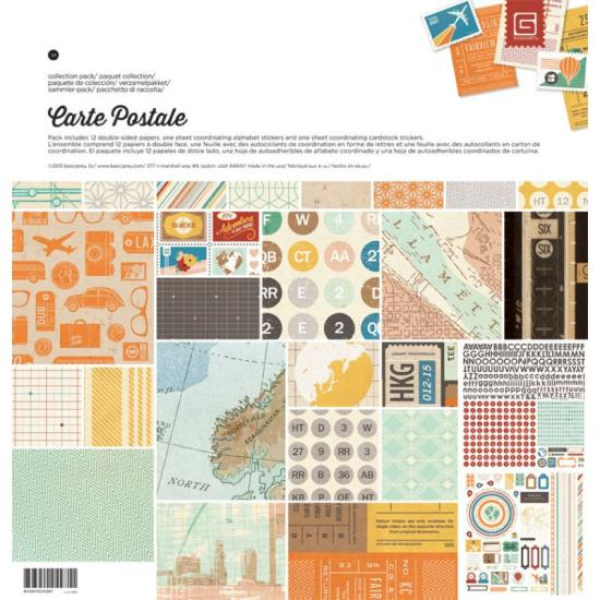 Papel Scrap 12x12 Basic Grey Carte Postale pack